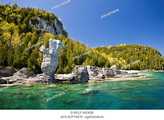 Sea stack along the shoreline of Flowerpot Island in the Fathom Five National Marine Park, Lake Huron, Ontario, Canada