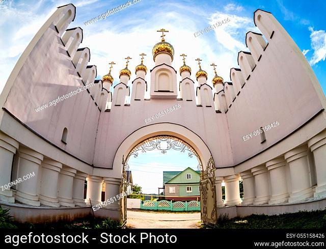 Gate in the Holy-Varsonofievsky Pokrovo-Selischenskiy nunnery in Mordovia, Russia