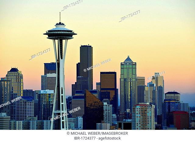 Evening mood, skyline of the Financial District in Seattle, Space Needle, Columbia Center, formerly known as Bank of America Tower, Washington Mutual Tower