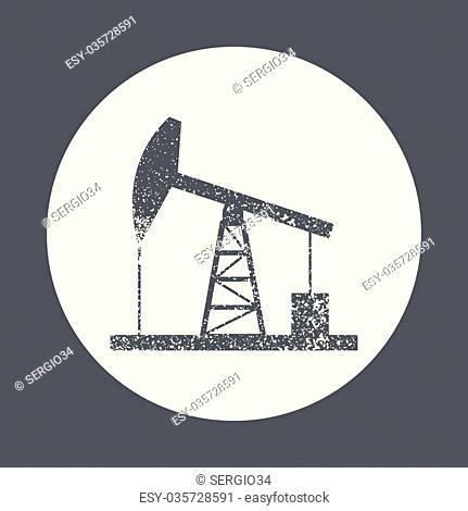 Oil derrick icon. Vintage style simple flat vector illustration, EPS 10