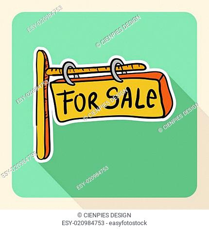 Hand drawn real estate for sale sign