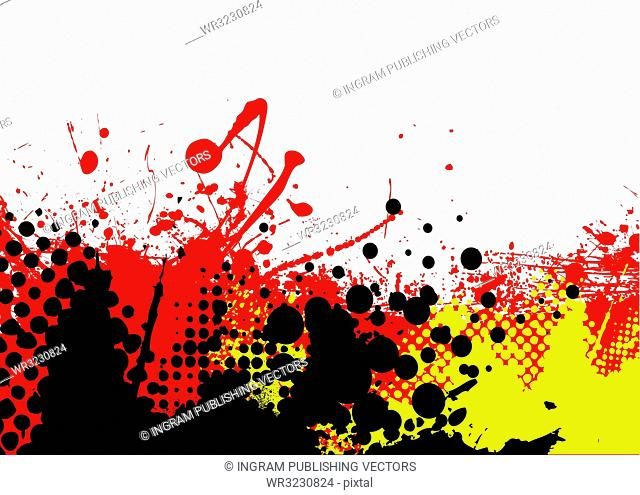 red hot abstract background with white copyspace and halftone dots