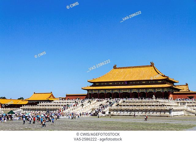 Beijing, China - The view of buildings at Forbidden city in the daytime, the Taihedian