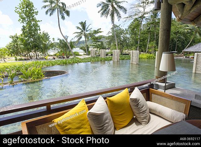 Bar area on the beach in Constance Ephelia Resort on the west coast of Mahé island, Seychelles