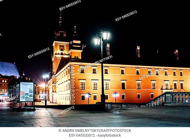 tourist area of the old town in night Warshawa Poland