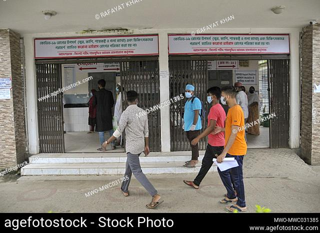 Patients coming to be tested in front of the isolation unit of Sylhet Doctor Shahid Shamsuddin Ahmed Hospital. Since the official announcement by the Health...