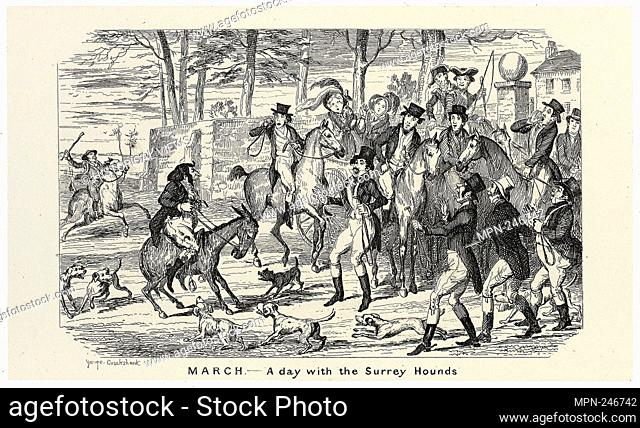 March - A Day With the Surrey Hounds from George Cruikshank's Steel Etchings to The Comic Almanacks: 1835-1853 - 1840, printed c