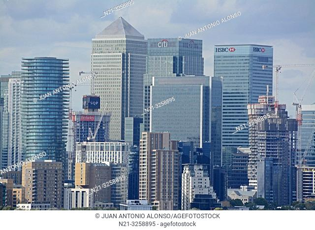 Canary Wharf business area from the Greenwich Observatory. London, England, Great Britain
