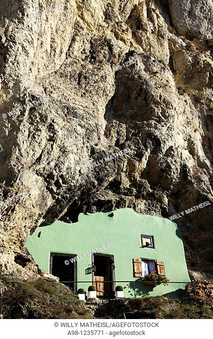 The house without a roof built in striking Jurassic Rocks in the picturesque village Kallmuenz, Upper Palatinate, Bavaria, Germany, Europe