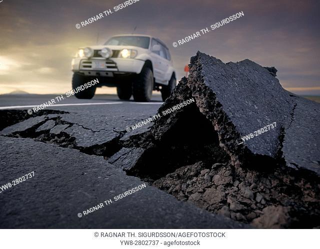 Asphalt damage from earthquakes, South Coast, Iceland