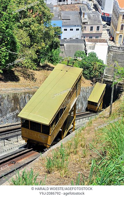 Brazil, Bahia, Salvador: The Plano Inclinado Goncalves (Goncalves Funicular Railway) from Praca da Sé provides a convenient way to travel between the Comercio...