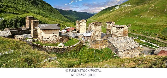 Stone medieval Svaneti tower houses of Chazhashi, Ushguli, Upper Svaneti, Samegrelo-Zemo Svaneti, Mestia, Georgia. Chazhashi is the main village of a group of...
