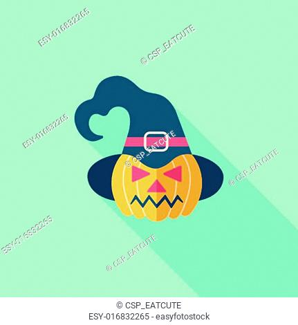pumpkin flat icon with long shadow,eps10