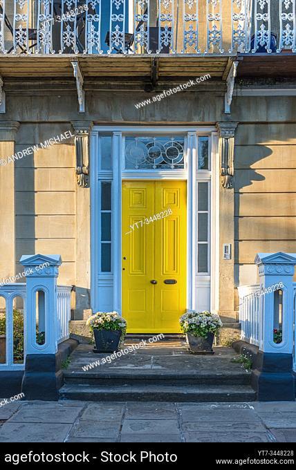 Georgian door on Lansdown place in Clifton Village, Bristol, England. UK