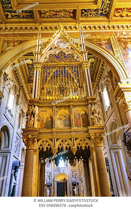 High Altar Ciborium Basilica Saint John Lateran Papal Cathedral Church Rome Italy. 1 of 4 Papal basilicas, Oldest Papal Church built 324 by Emperor Constantine...
