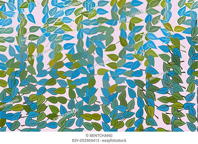 Color abstract leaves drawing pattern generative art background. Style of mosaic or tile. Vector illustration graphic