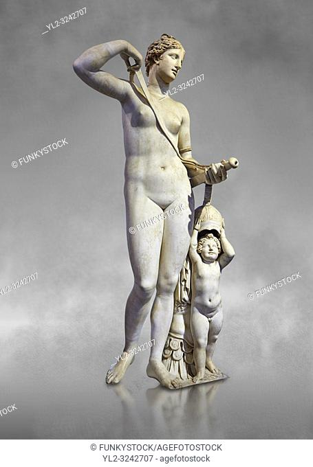 Venus (Aphrodite) in Arms. A 2nd century AD marble Roman statue completed in the 16th century. The so called Venus in Arms shows Venus with a sword and armour...