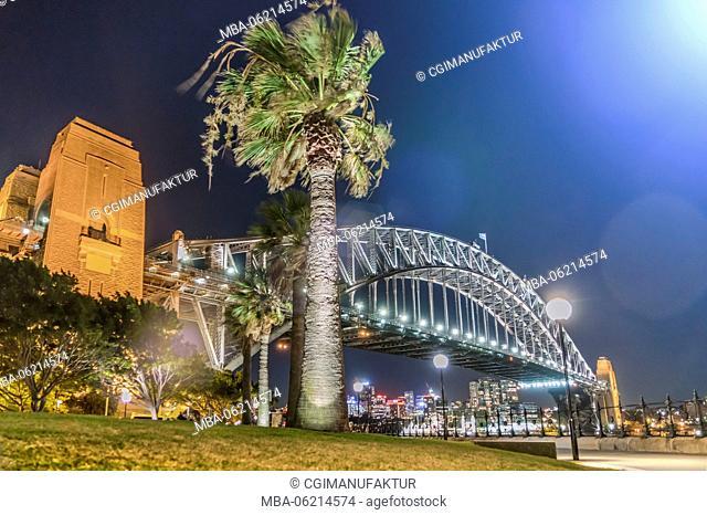 Australia, Sydney, New South Wales, Night, Harbour bridge, night