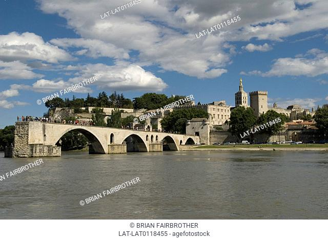 The Pont St Benezet, or Pont D'Avignon a three span bridge originally crossed the River Rhone to Palais des Papes. Built between 1171 and 1185 it collapsed many...