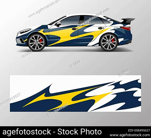 wrap design for custom sport car. Sport racing car wrap decal and sticker design
