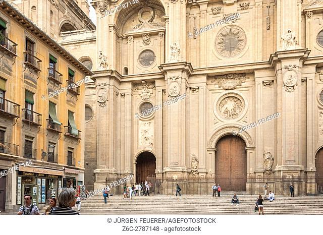 forecourt and portal of the cathedral in Granada, Andalusia, Spain