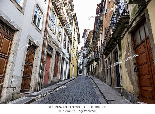 Narrow Rua de Belomonte Street with residential buildings in Porto city on Iberian Peninsula, second largest city in Portugal