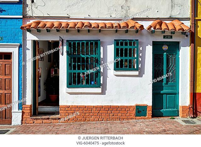 typical colored building in La Candelaria, Bogota, Colombia, South America - Bogota, Colombia, 30/08/2017