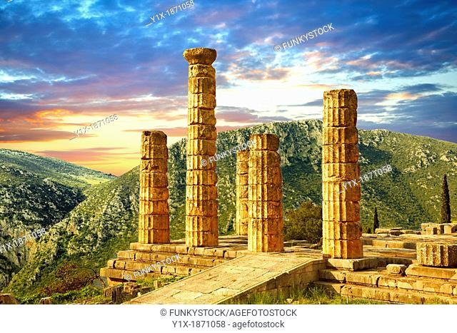The ruins of the 4th century BC Temple of Apollo , a peripteral Doric building  Delphi, archaeological site, Greece