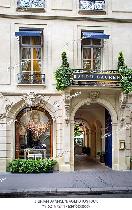 Entry to Ralph Lauren store and restaurant in Saint-Germain-des-Pres, Paris France