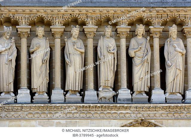 Statues over the main portal, Notre Dame de Paris cathedral, Paris, Ile-de-France, France