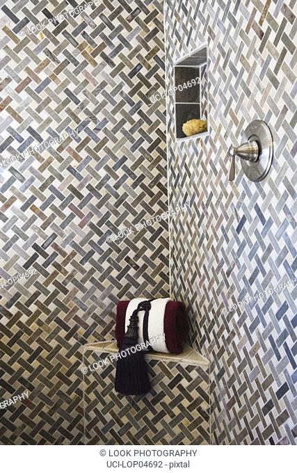 Detail of Ornately Tiled Shower Stall