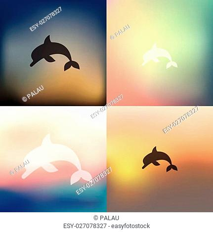 dolphin icon on blurred background