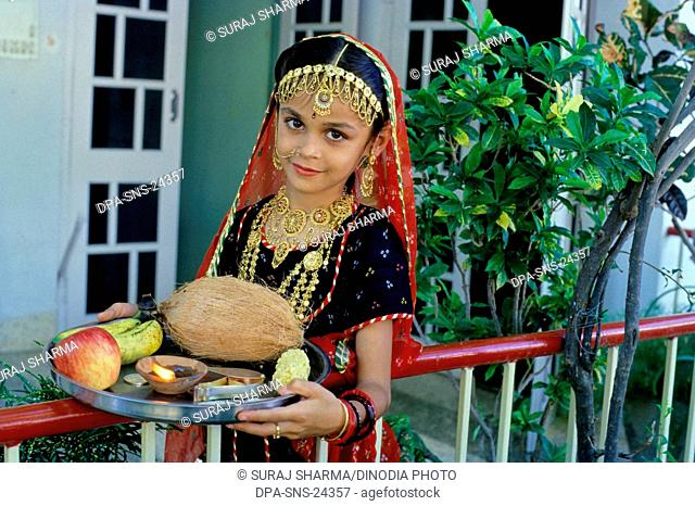 Diwali deepawali Festival , holding Arati Plate