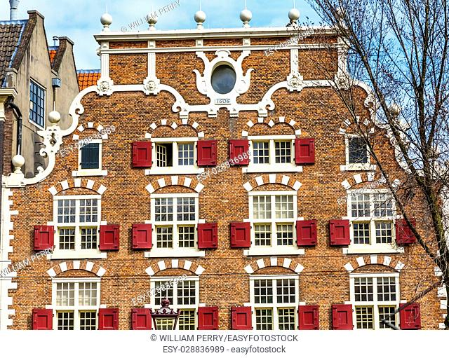 Old Canal Building Singel Canal Amsterdam Holland Netherlands