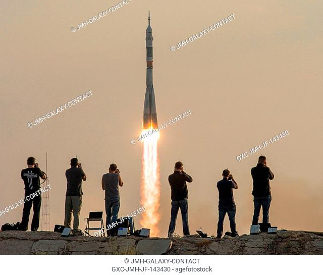 The Soyuz MS-01 spacecraft launches from the Baikonur Cosmodrome with Expedition 48-49 crewmembers Kate Rubins of NASA, Anatoly Ivanishin of Roscosmos and...