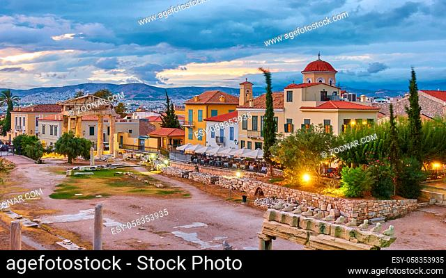 Roman Agora the old town of Athens at dusk, Greece. Cityscape at twilight