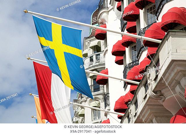 Swedish Flag on Facade of Hotel Diplomat, Stockholm, Sweden