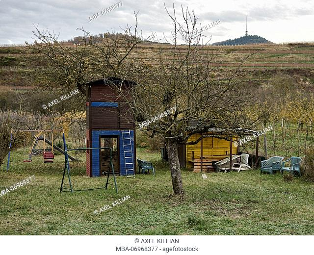Garden hut with swing in a meadow, in the background vineyards, autumn