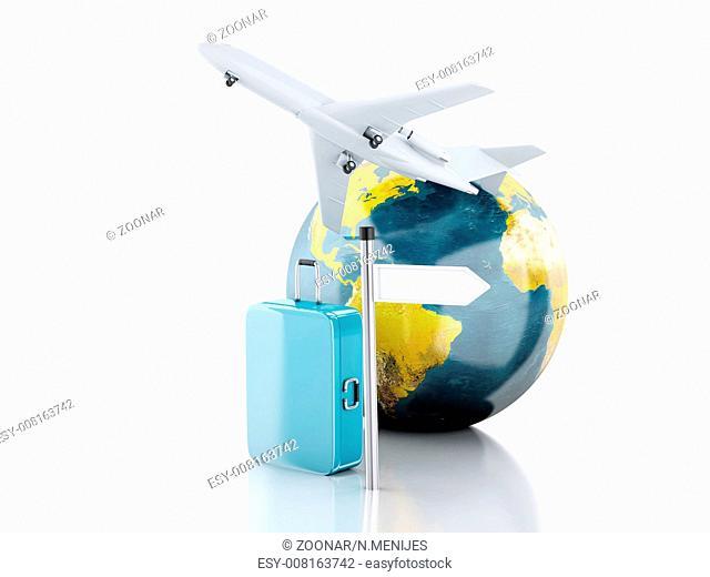 3d travel suitcase, airplane and world globe. trav