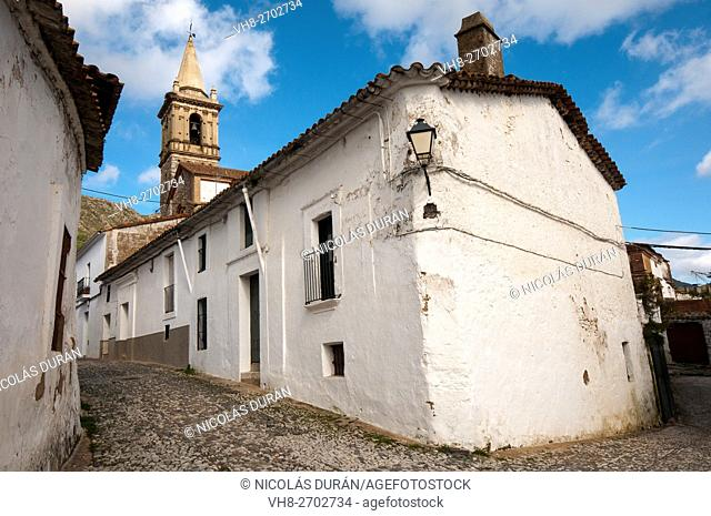 Tipical street in Alajar with San Marcos church. Sevilla Province. Andalucia.spain