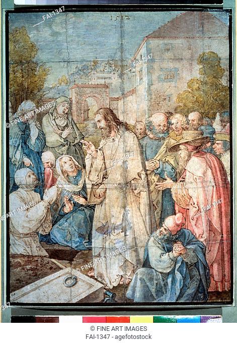 The Raising of Lazarus. Dürer, Albrecht (1471-1528). Pen, ink, watercolour on paper. Renaissance. 1512. State A. Pushkin Museum of Fine Arts, Moscow