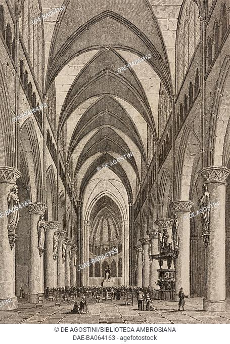 Interior of the Cathedral of Saint Michael and Saint Gudula, Brussels, Belgium, engraving by Lemaitre from Belgique et Hollande, by Van Hasselt