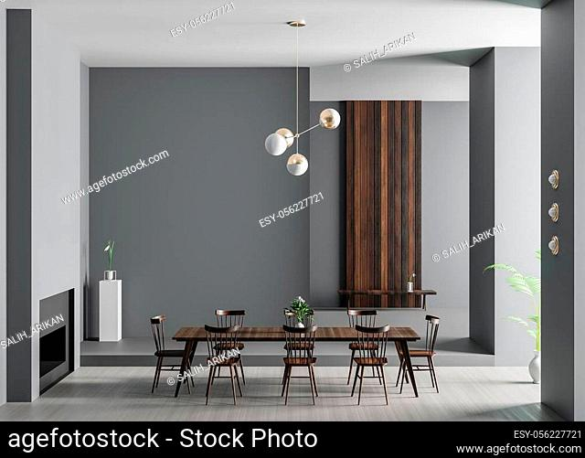 Spacious luxury dining room with fireplace. Minimalist modern dining room design. 3D illustration