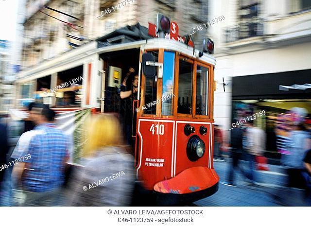 Tram. Istiklal Caddesi. Independence Street. Istanbul. Beyoglu quarter. Istanbul.Turkey