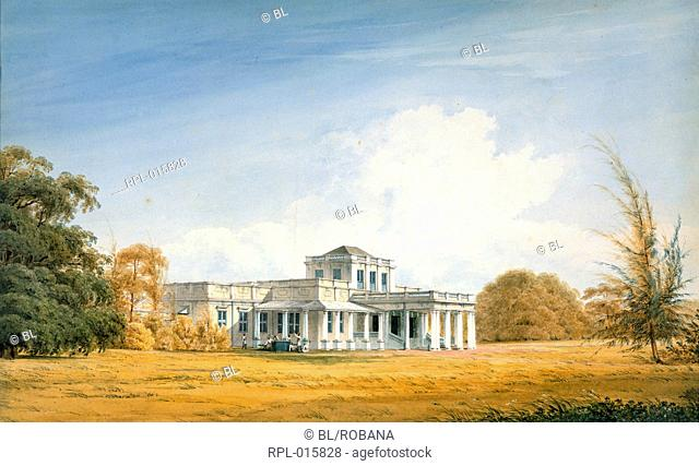A European house in Madras. Inscribed on front in ink: 'Just Gantz. 1834'. Watercolour. Originally published/produced in 1834
