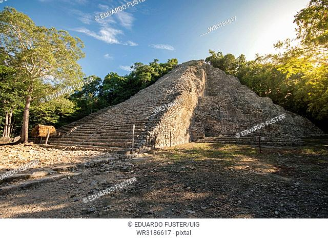 Coba is the longest pyramid in Quintana Roo, Rivera Maya, Mexico and its allowed to be climbed helped by a rope