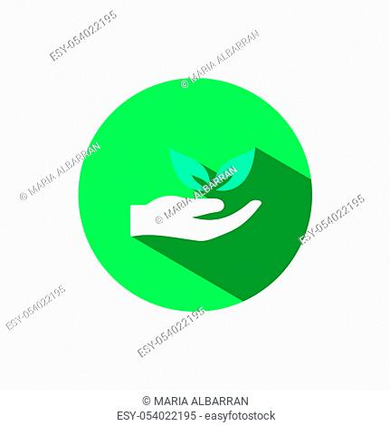 Hand icon and leaves with shadow on a green circle. Flat color vector pharmacy illustration