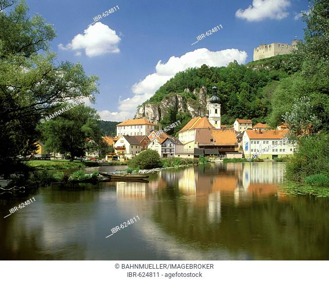 Kallmuenz Upper Palatinate Bavaria Germany old town hall and parish church St Michael above the river Naab
