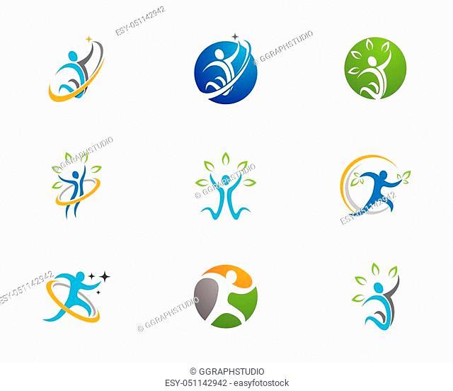 Human character logo sign Health care logo sign. Nature logo sign. Green life logo sign. Vector logo template