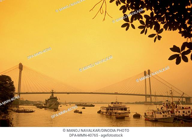 New Howrah bridge (Vidyasagar Setu) on Hooghly river in Calcutta ; West Bengal ; India